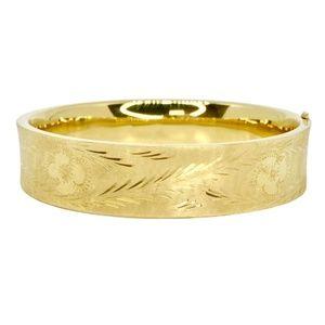 Vintage 14K Yellow Gold Engraved Bangle Bracelet